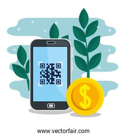 qr code inside smartphone leaves and coin vector design