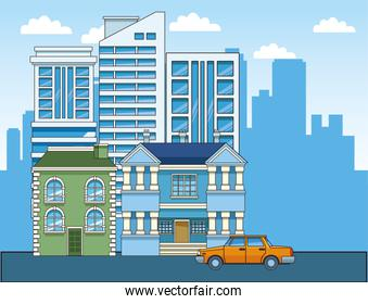 modern and classic buildings and yellow car