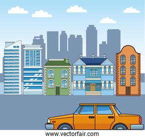 urban city scenery with classic buildings and yellow car, colorful design