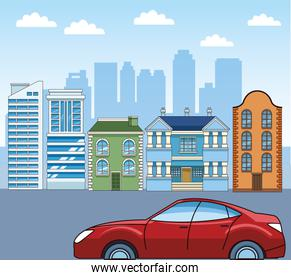 classic buildings and sport car over urban city background