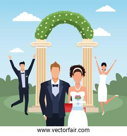 Floral arch with happy just married couples over landscape background