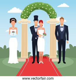 wedding couples standing over floral arch and landscape background, colorful design