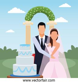 just married couple with wedding cake and floral arch around, colorful design