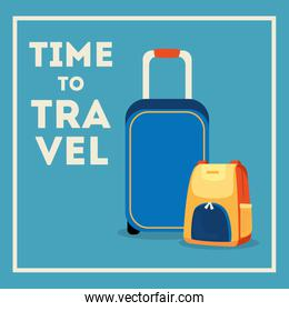 time travel poster with suitcases icons