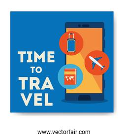 time travel cartel with smartphone and summer icons