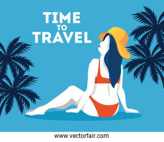time travel poster with woman and tree palms