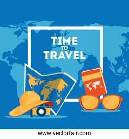 time travel poster with summer icons