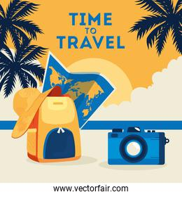 time travel cartel with summer icons in the beach