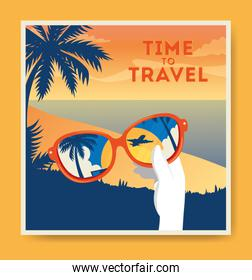 time travel poster with summer landscape
