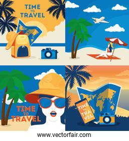 set poster of time travel and summer icons