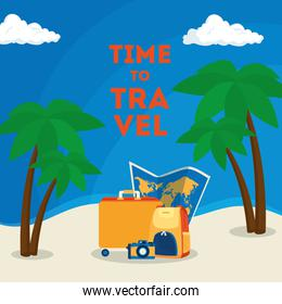 time travel poster with summer icons in the beach