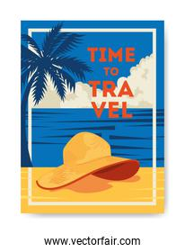 time travel poster with summer landscape and icons