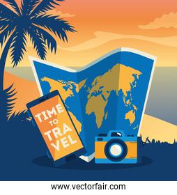 time travel poster with smartphone and summer icons
