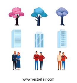 icon set of trees, buildings and couples standing, colorful design