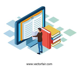 books, computer and man standing, colorful design