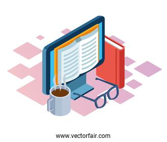 coffee mug, book and computer with book on screen, colorful design