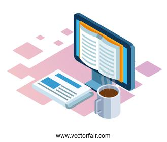 isometric design of computer, newspaper and coffee mug