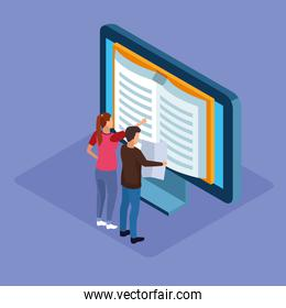 isometric design of computer with book on screen and man and woman standing