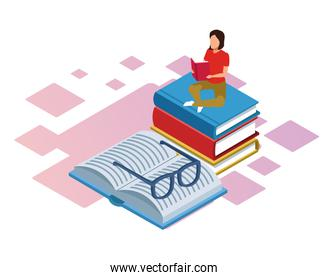 isometric design of woman sitting on books stack and book with glasses