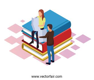 isometric design of woman and man reading newspaper around stack of books