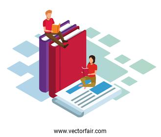 isometric design of woman and man reading books and newspaper