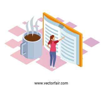 isometric design of coffee mug and woman standing pointing a big book