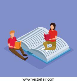 isometric design of big book and woman and man reading books around