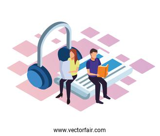 isometric design of man and woman reading and big headphones