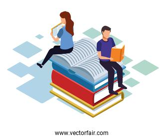 isometric design of man and woman reading and sitting on stack of books