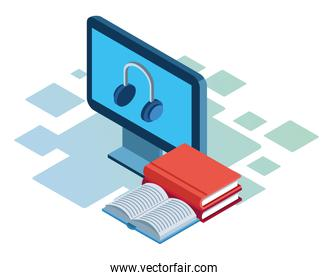 books and computer with headphones on screen over white background