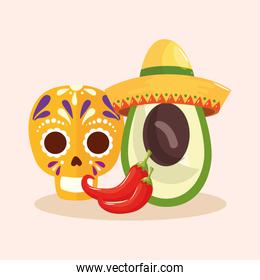 Mexican skull chillis and avocado with hat vector design