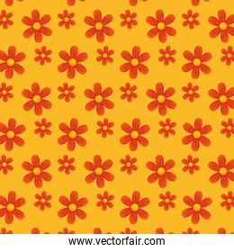 Red flowers over yellow background vector design
