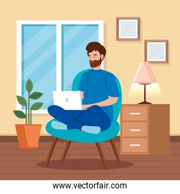 man working in telecommuting sitting in chair with laptop