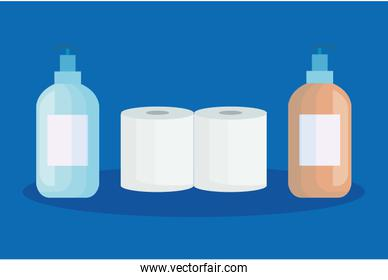 set toilet paper with antibacterial bottle isolated icons
