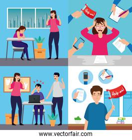set scenes of people with with stress attack