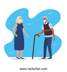 old couple with face mask and walking stick