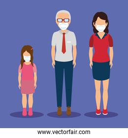 family with face mask avatar characters