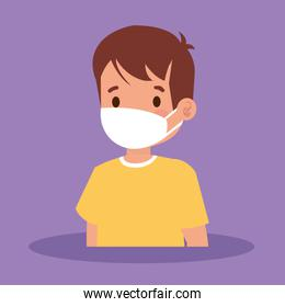 cute boy with face mask avatar character