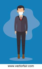 businessman with face mask in blue background