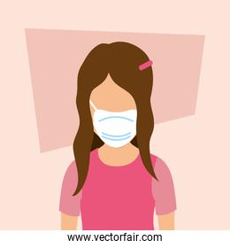 cute girl with face mask isolated icon