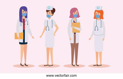 group of doctors and nurses with face mask