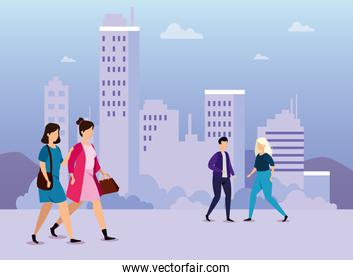 urban scene with young people walking