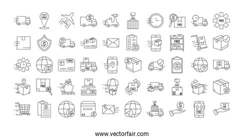 bundle of fast delivery and free delivery line style icons
