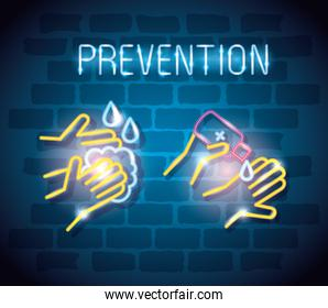 prevention of covid 19 icons of neon light