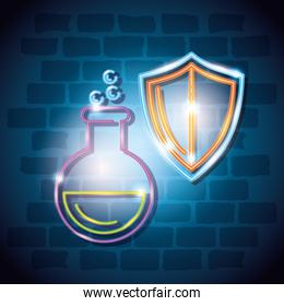 tube test of laboratory with shield of neon light