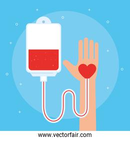 hand with bag of blood donation icons