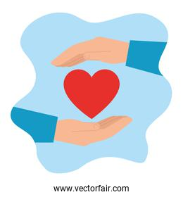 hands with heart symbol of charity donation