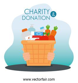 charity donation basket with food