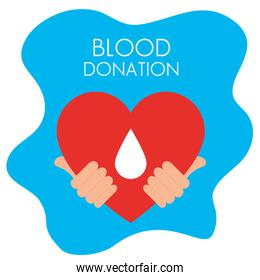 hands with heart of blood donation