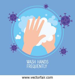 coronavirus 2019 ncov infographic with wash hands frequently campaign